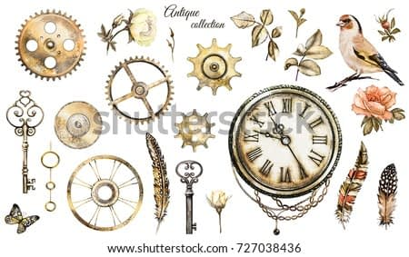 steam punk watercolor Illustration -  roses, clock, clockwork, keys, feathers, jewelry, chain and bird, Flowers. tattoo style. set isolated on white background. vintage collection