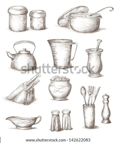 Hand drawn illustration of kitchen utensils