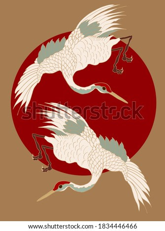 Crane and sunrise vector illustration for T-shirt.Beautiful line art of nature for printing on shirt.Asian art for doodle and painting on background.