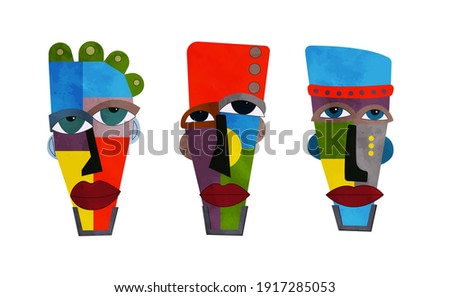 Surreal ethnic man face drawing. Vector illustration.