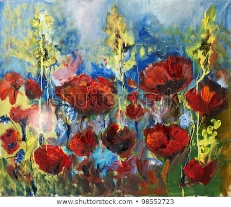 Painting picture of blooming spring poppy field oil painted on canvas