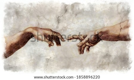 The human touch. The Creation of Adam. Digital sketch of reaching hands for help and connection concept in the style of old reinassance fresco works.