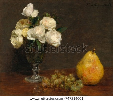 Still Life with Roses and Fruit, by Henri Fantin-Latour, 1863, French impressionist oil painting. Fantin-Latour associated with the Impressionists, but his style remained compositionally conservative