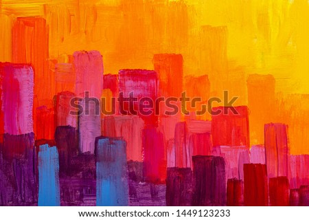 Colorful panorama city abstract background. Original oil painting.