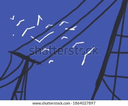 Painting minimalist blue sky with white bird fly arround the black electric pylon.illustration in trendy art.
