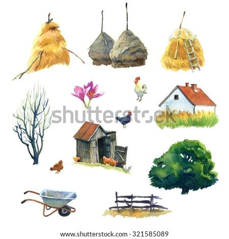 Set of watercolour pictures about life in country