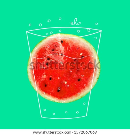 Creative idea layout fresh Watermelon slice. Minimal idea business creative concept. Fruit idea creative to produce work within an Advertising Marketing Communications