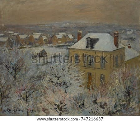 House in Winter, by Gustave Loiseau, 1911, French Post-Impressionist, oil on canvas. As a young artist in his 20s he associated with Paul Gauguin and Emile Bernard, and then experimented with Pointill