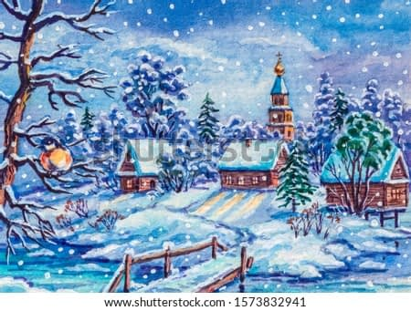 Winter snow, country landscape. Log houses. Bridge over the river.
