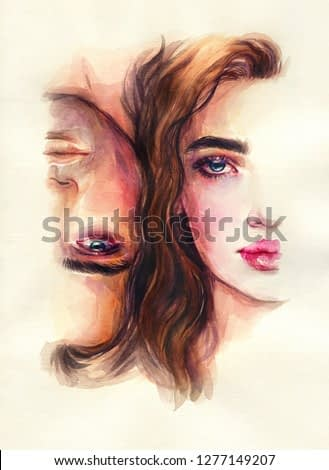 A Man and a Woman . Watercolor painting