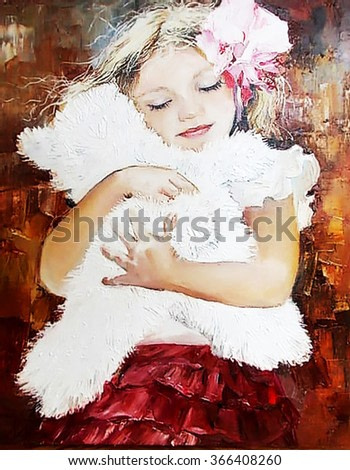 cute little girl hugging a teddy bear, children's kindness, oil card