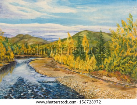 Oil painting. Autumn in the North