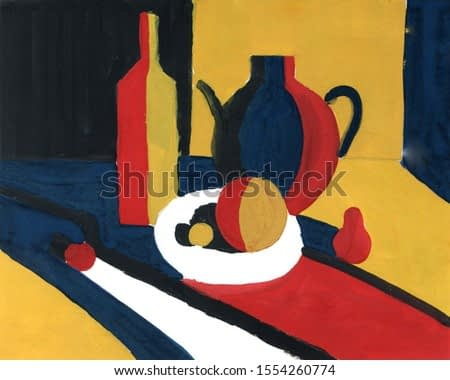 still life Chiaroscuro contrast of light and shadow, acrylic painting Minimal graphics palette. Teapot, bottle, plate, fruits and vegetables Blue yellow red white black