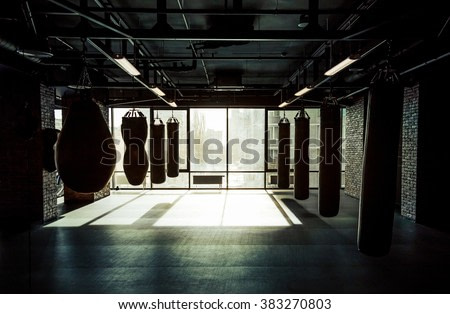 Empty modern fight club with punching bags of different shapes for practicing martial arts