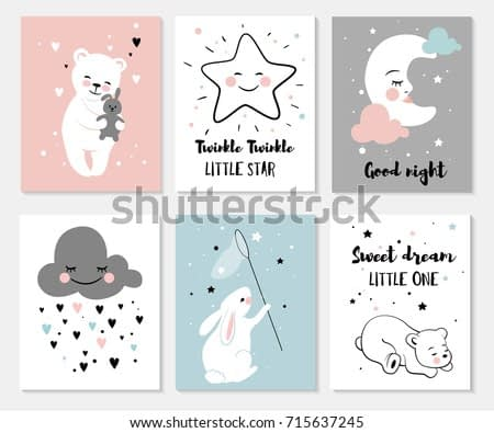 Little bear, rabbit, moon and star, cute characters set, posters for baby room, greeting cards, kids and baby t-shirts and wear