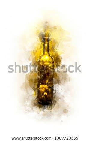Creative Illustration - Wine Bottle - Isolated - Digital Watercolor Painting