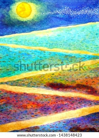 Yellow full moon in colorful background beautiful zigzag way watercolor painting hand drawn