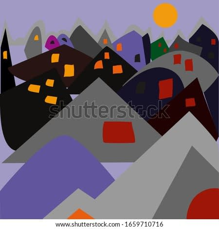clip art village at night in abstract-cubist-impressionist style with bright windows and moony sky