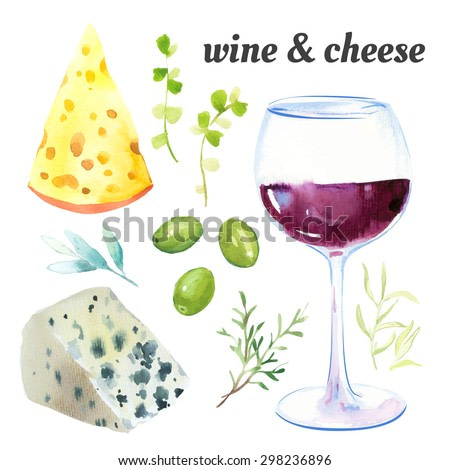 Vector illustration with watercolor food. Watercolor picture of a painting technique.  Set of glasses of red wine, cheese and exquisite French herbs.