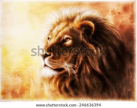 A beautiful airbrush painting of a lion head with a majesticaly peaceful expression with fractal efect profile portrait