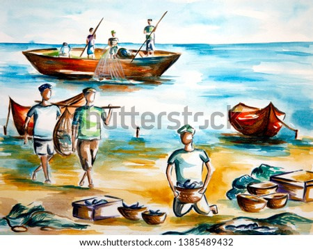 Original painting of a sea coast showing fishermen at work. Watercolor on sheet