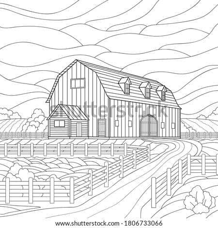 A large wooden barn with windows and an extension, fence, a plowed field, a yard and plants. Rural architectural illustration on white isolated background. For coloring book, stories.