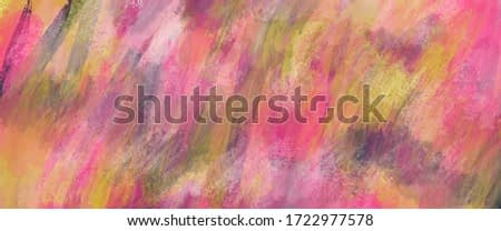Wide screen abstract painting texture. Pink, yellow and umbra background. Color mixing. Trendy pastel pattern. Freehand artwork for creative graphic design. Modern futuristic pattern. Pastel splashes.