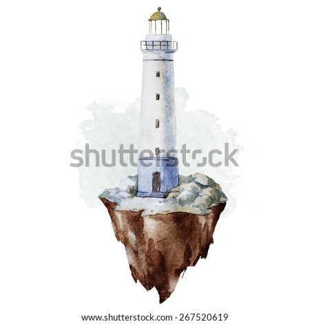 watercolor, drawing, sea, lighthouse