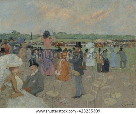 The Races at Longchamp, by Jean-Louis Forain, 1891, French impressionist painting, oil on canvas. Forain was a prot_g_ of Degas who painted Parisian modern pastimes of the racetrack, the ballet,