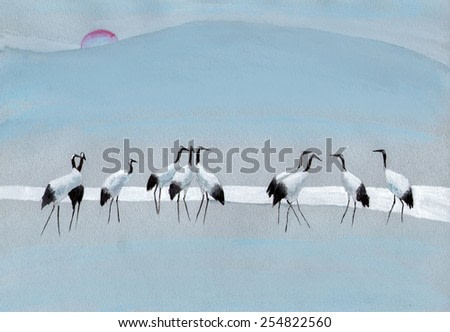 Group of storks at the river