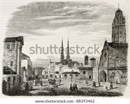 Bordeaux old view, France. Created by Drouyn, published on Magasin Pittoresque, Paris, 1844