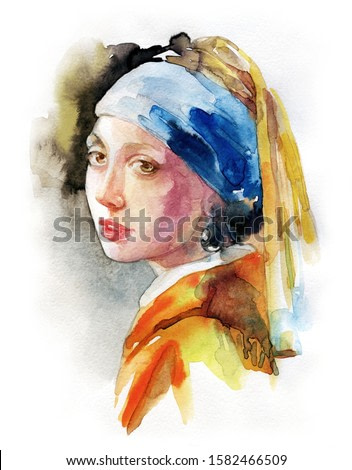 Girl with a Pearl Earring. illustration. watercolor painting