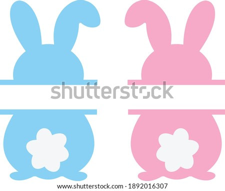 Easter vector, Bunny clipart, Easter bunny split, Easter cut file