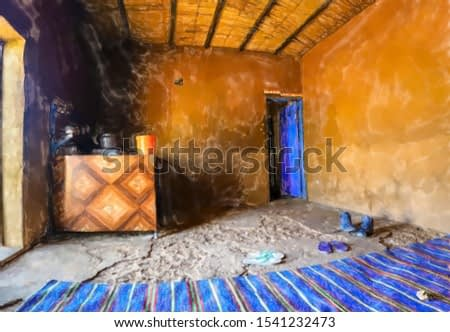 watercolor illustration: Inside a rest stop in the desert of Sudan with a blue carpet and a stove where food, tea and coffee are prepared.