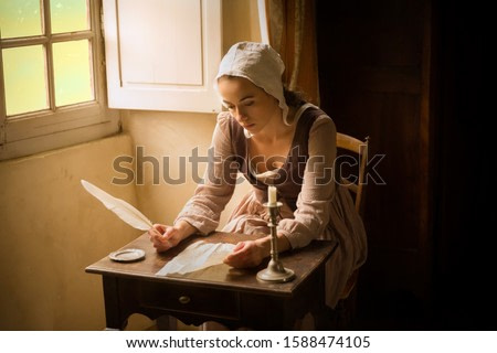 Vermeer style portrait of a young maid in renaissance costume writing a letter with a feather quill