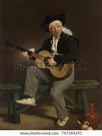 The Spanish Singer, by Edouard Manet, 1860, French impressionist painting, oil on canvas. This painting was a popular and critical success for 29 year old Manet in his debut at the Salon of 1861
