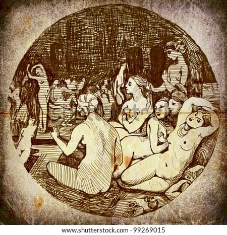 hand drawing - the vintage theme: ancient Roman and Turkish bath (intimate world of women - a bitmap image)