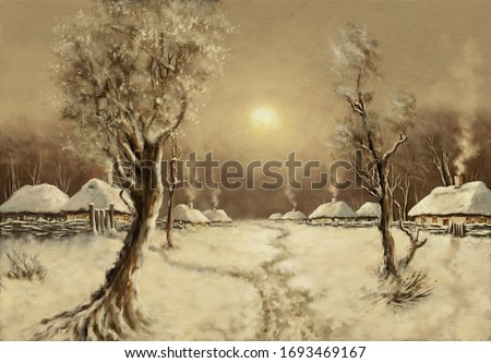 Oil paintings rural landscape, winter, old village. Fine art.
