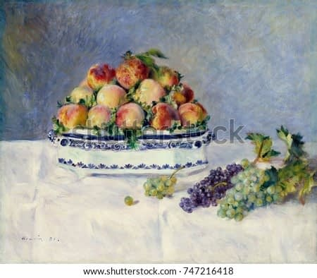 Still Life with Peaches and Grapes, by Auguste Renoir, 1881, French impressionist oil painting. This still life of peaches was painted when Renoir was a guest of art patron Paul Berard, who purchased