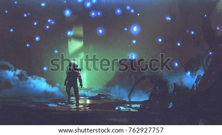 the astronaut walking in a fantastic forest with glowing spores floating around in the air, digital art style, illustration painting
