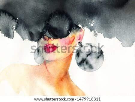 Abstract black sunglasses, art and fashion. Hand painted watercolor illustration.