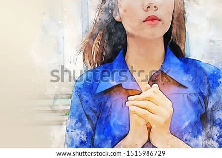 Beautiful Asia women portrait are praying and blessing on walking street on watercolor illustration painting background.