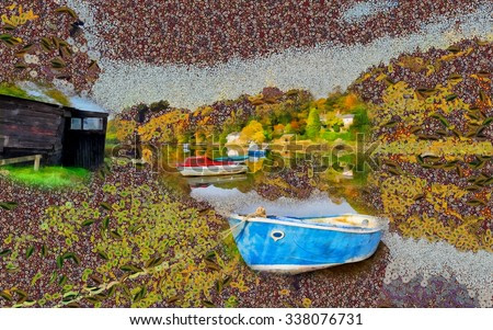 An oil painting of boats on the river in the symbolist style of Gustav Klimt
