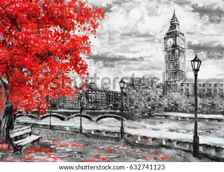 oil painting on canvas, street of london. Artwork. Big ben and red tree.  England. Bridge and river