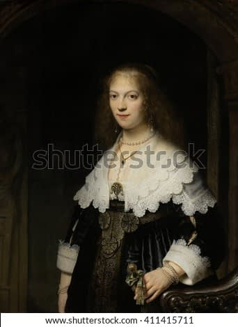 Portrait of a Woman, Possibly Maria Trip, by Rembrandt van Rijn, 1639, Dutch painting, oil on panel. She was the daughter of a wealthy Amsterdam merchant, and wears exquisite lace and pearls.