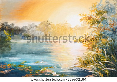 painting - sunset on the lake, bright sunset