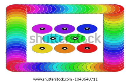Frame made from Colorful DVD's. 3D rendering. Isolated on white. Rainbow colors.