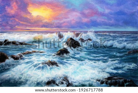 Original  oil painting of beautiful purple sunset over ocean beach with cliffs on canvas.Modern Impressionism, modernism,marinism