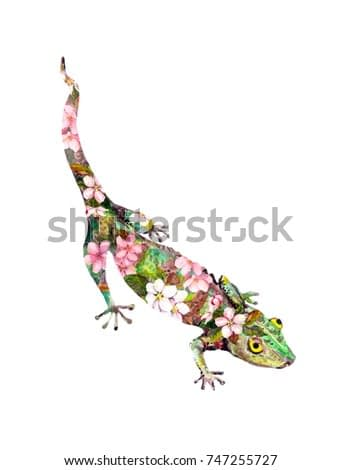 Gecko animal in flowers. Watercolor