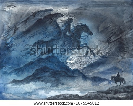 Original watercolor illustration, fantasy landscape with winged horse woman in the sky.